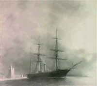 the amerigo vespucci, a royal italian naval corvette leavingport by edward hesketh