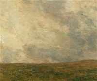 landscape in cloudy weather by julius paulsen