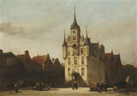 townspeople near the townhall of gouda by johannes bosboom