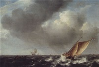 a smalschip, fishermen's boat and other vessels on choppy seas by julius porcellis