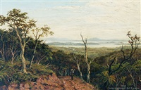 auckland harbor from putumatiki hill, waitakere ranges by albert edward aldis
