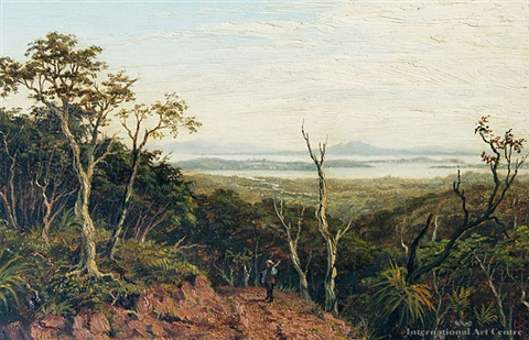 auckland harbor from putumatiki hill waitakere ranges by albert edward aldis