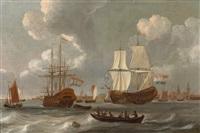 holländische kriegsschiffe und ein boot auf bewegter see in küstennähe by abraham jansz storck