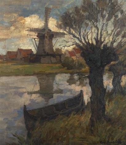 landschaft mit windmühle by carl knauf