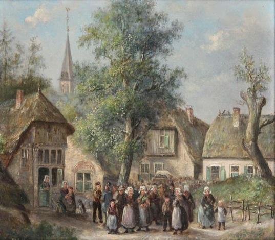 foule devant un village by hendrick joseph dillens