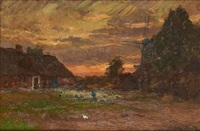 moulin au coucher du soleil by franz courtens