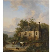 horses watering by a country house by wouter verschuur the younger