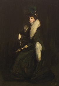 lady in green (mrs. cara h.) by john lavery