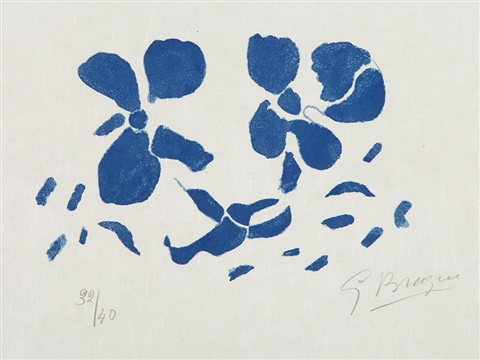 fleurs bleues from si je mourais là bas by georges braque