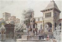 fontaine dans la cour d'un palais by jean-claude rumeau