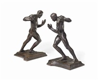 pushing men: a pair of bookends (2 works) by harriet whitney frishmuth