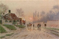 dorfstraße im abendlicht by josef köpf