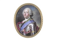 prince charles edward stuart (1720-1788), wearing suit of armour over white chemise, stock and cravat, blue sash and breast star of the order of the garter, his crimson mantle draped about him by jean adam mathieu