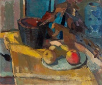 still life with apples on a dish, basket and vase by otto b. de kat