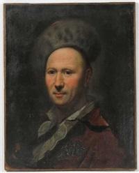 portrait of man wearing fur hat by john francis rigaud