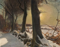winter landscape by hans mortensen agersnap