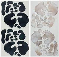 2 adet düet resim soyut kompozisyon (2 works) by mithat sen