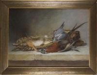 nature morte de chasse au lapin, au faisan et au pigeon by antoine-ferdinand attendu