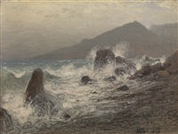 waves breaking over rocks by lev felixovich lagorio