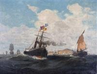 bewegte see mit zahlreichen schiffen, im vordergrund raddampfer, am horizont felsige landschaft by konstantinos bolanachi