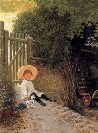 a girl playing with her toy horse by mrs. samuel luke (fanny woods) fildes