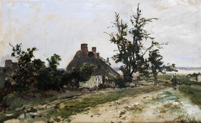 chaumière dans un paysage by johan barthold jongkind