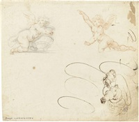 sheet of studies of different putti by giovanni alberti
