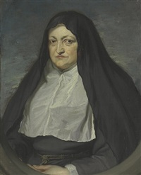 portrait of archduchess isabella clara eugenia, regent of the southern netherlands (1566-1633), half-length, as a nun, in a painted oval by jan van den hoecke
