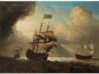 warships shortening sail in the breeze by francis swaine