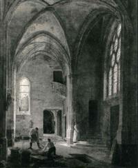 interieur d'eglise avec un enfant de choeur by louis courtin