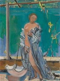 stehender weiblicher akt mit tuch by maurice barraud