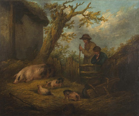 a rustic landscape by george morland
