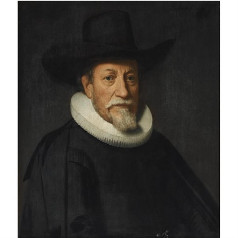 portrait of a gentleman with a white goatee wearing a black suit with a molensteenkraag and a black hat by dirck dircksz van santvoort