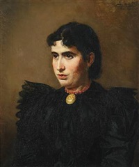 woman in a black dress with necklace by wenzel ulrik tornoe