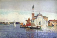 venetian scene with boats by john mallord bromley