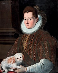 portrait de femme tenant un petit chien sur les genoux by cristofano allori