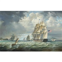 u.s.s. franklin in company with u.s. frigate constitution off the narrows, new jersey - circa 1838 by robert trenaman back