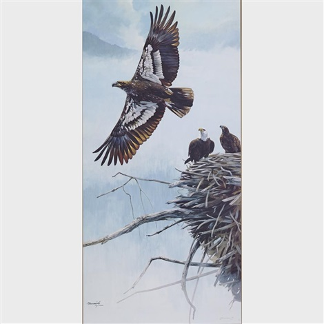 The Story Of The Eagle Ensemble Consisting Of 4 Paintings Symbol Of