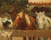 horses and bear wagon by otto bache