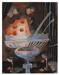 dessert (still life with glasses and strawberry pudding) by rufino tamayo
