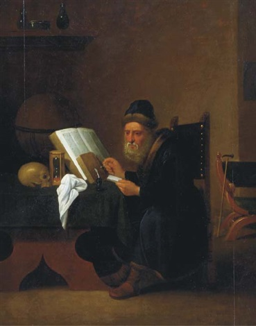 a scholar in his study by jacob van spreeuwen