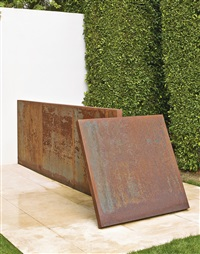 four plates edges up (in 4 parts) by richard serra
