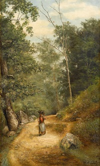 view along the brandywine: woman carrying wood by jefferson david chalfant