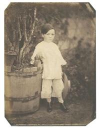 garçonnet posant dans un jardin by jean baptiste frénet