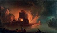 convoi fuyant un incendie dans un port méditerranéen by francesco fidanza