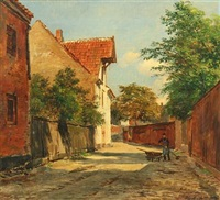 town scape with street sweeper by august fischer