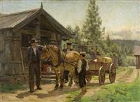 to menn og en gutt ved hest og kjerre by jacob gloersen