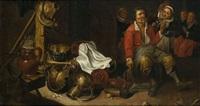 couple dans une auberge devant une nature morte de cuisine by cornelisz mahu