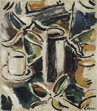 a still life with a cup and jars by peter alma