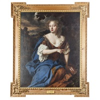 three quarter length portrait of nell gwynne in a landscape by sir peter lely